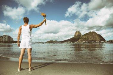 Young Man Holding Sport Torch Rio de Janeiro