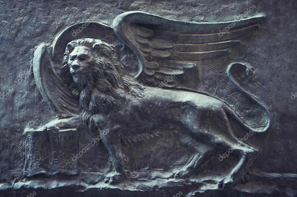Leeuw Van Saint Mark Muur Relief Veneti Itali Stockfoto