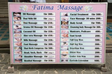 Thai Massage Sign in Koh Phi Phi Thailand