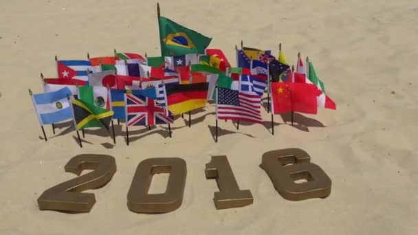 2016 Message in Gold Numbers International Flags Rio de Janeiro