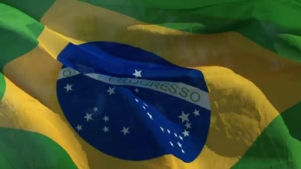 Brazilská vlajka letí ve větru na Palm Beach