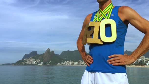 Gold Medal RIO Athlete Standing Ipanema Beach