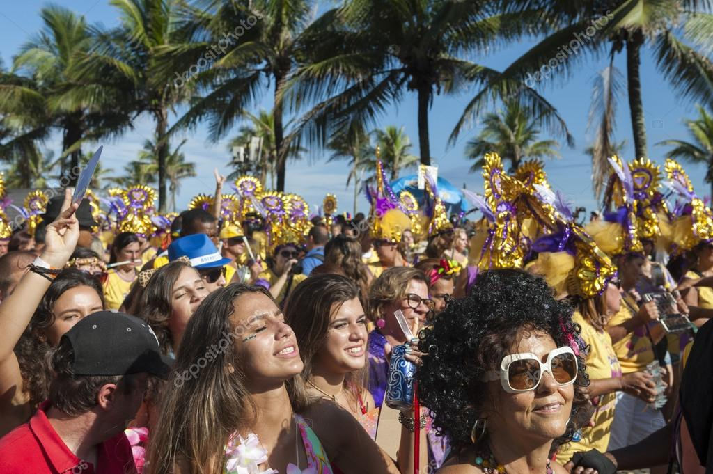 Crowd Celebrating Carnival Ipanema Rio de Janeiro Brazil