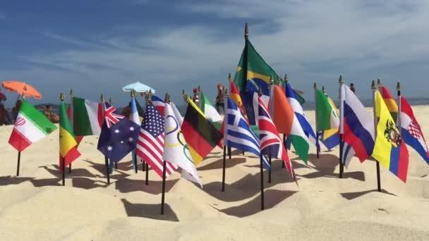 Olympic and International Flags Ipanema Beach Rio