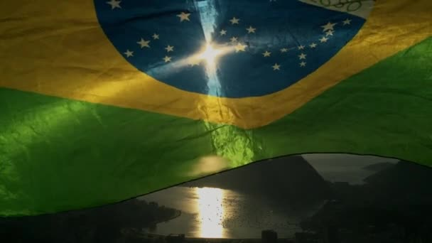 Brazilská vlajka Rio de Janeiro Panorama malebné Overlook