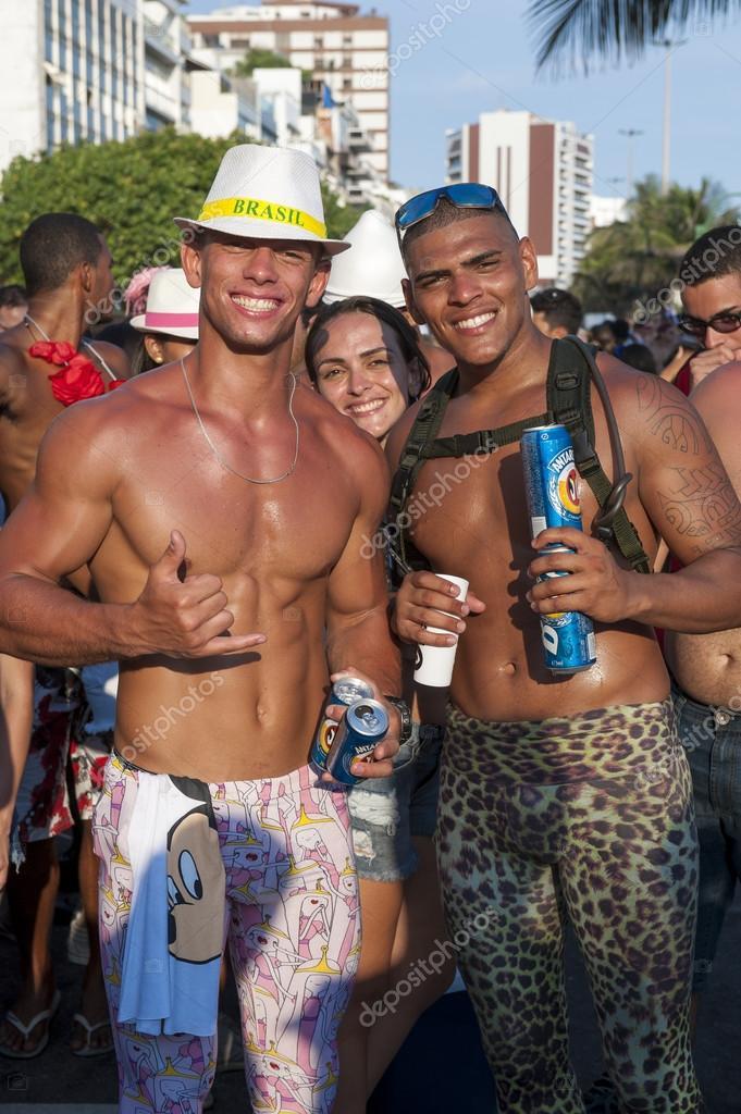 Friends Celebrating Carnival Ipanema Rio de Janeiro Brazil