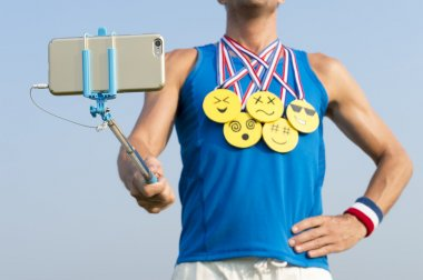 Athlete Taking Selfie with Gold Medal Emojis