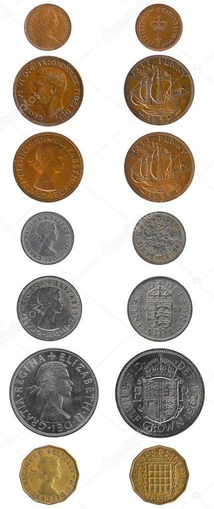 englisches geld münzen vorder und rückseite