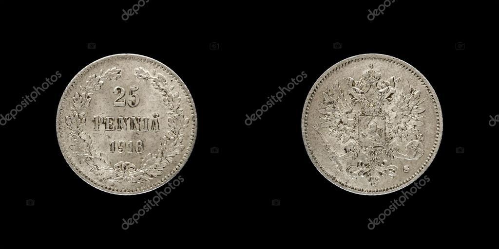 Finnland Zarenreich Alte Silbermünze Pfennig Stockfoto