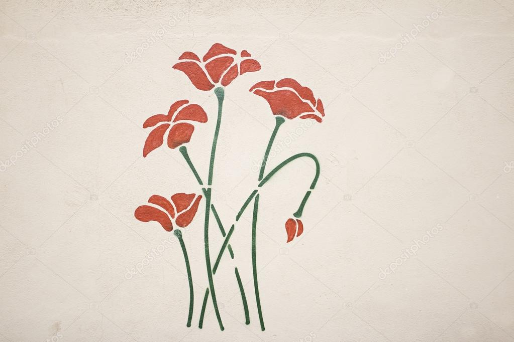 Flowers painted wall