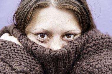 Girl with eyes beaten