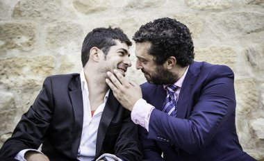 Men kissing