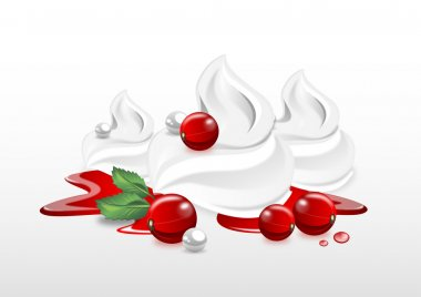red currant with whipped cream