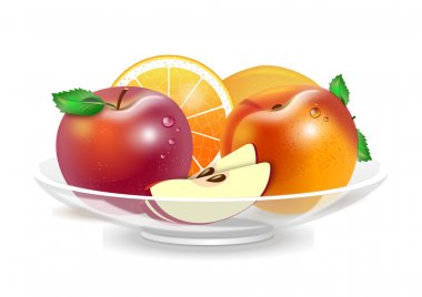 a plate of fresh fruits on white background