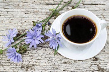 Drink from chicory and blooming chicory