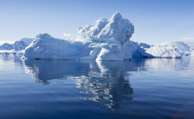 Nature and landscapes of Antarctic.Travel on the scientific vessel among ices. Studying of a phenomenon of global warming. Ices and icebergs of unusual forms and colors. stock vector