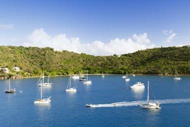 sail yachts in the sea near tropical island