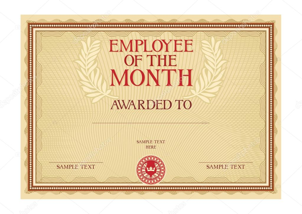 Employee Of The Month - Certificate — Stock Vector