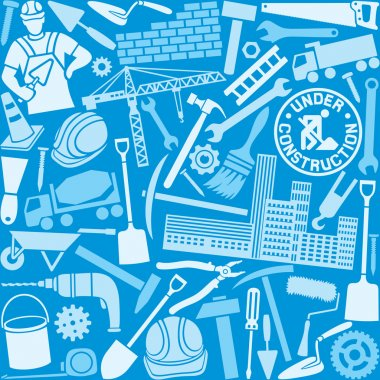 Construction icons seamless pattern stock vector