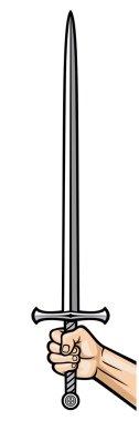 hand holding sword