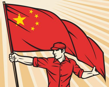 worker holding china flag