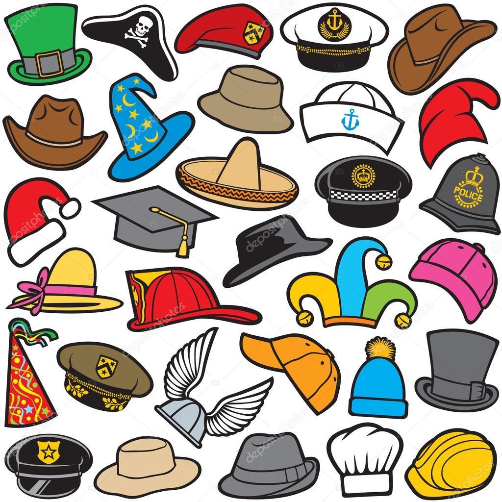 Diff rents types de chapeaux image vectorielle - Differents types de poubelles ...