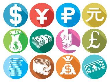 money flat icons set