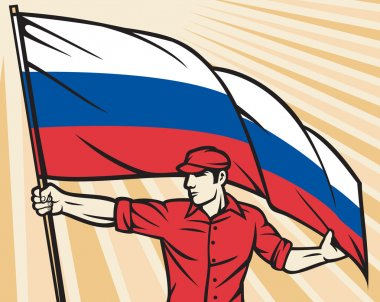 Worker holding Russian flag