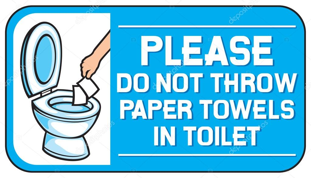 Preferred please do not throw paper towels in the toilet sign — Stock Vector  TJ84