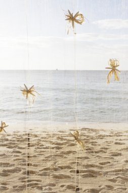 Sea style decoration with starfish on sea and sand beach background stock vector