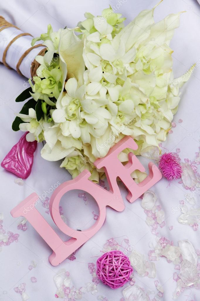 Word Love And Decoration Details Over White Wedding Decor Stock