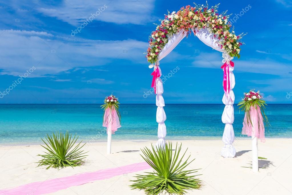 Wedding arch cabana gazebo on tropical beach decorated with fl wedding arch cabana gazebo on tropical beach decorated with flowers beach wedding decoration photo by volare2004 junglespirit Gallery