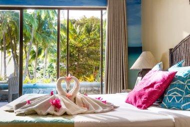 towel decoration in hotel room, towel birds, swans, room interio
