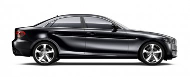Black sedan car  side view