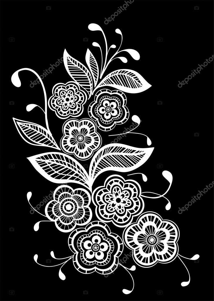 gyönyörű fekete-fehér fekete-fehér virágok és levelek elszigetelt ... 1a494586d0