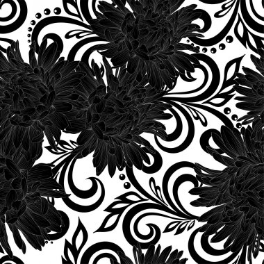 Beautiful monochrome black and white seamless pattern with aster flowers and abstract floral swirls