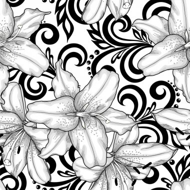 Beautiful monochrome black and white seamless pattern with lilies flowers and abstract floral swirls