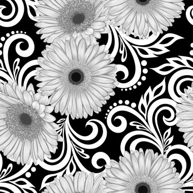 Beautiful monochrome, black and white seamless pattern with gerbera flowers and abstract floral swirls