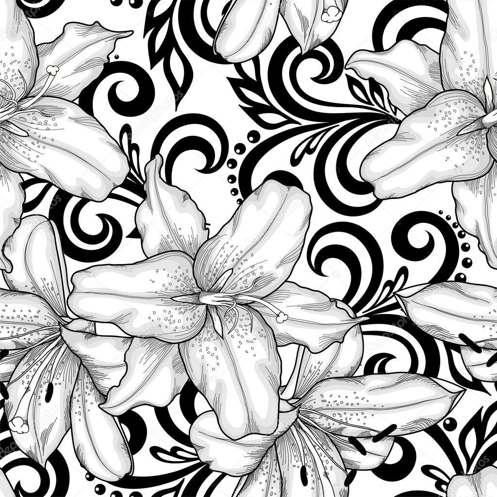 Beautiful monochrome black and white seamless pattern with lilies beautiful monochrome black and white seamless pattern with lilies flowers and abstract floral swirls stok mightylinksfo