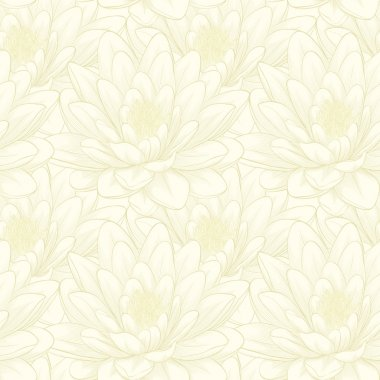 seamless pattern with lotus flowers. Hand-drawn contour lines and strokes.