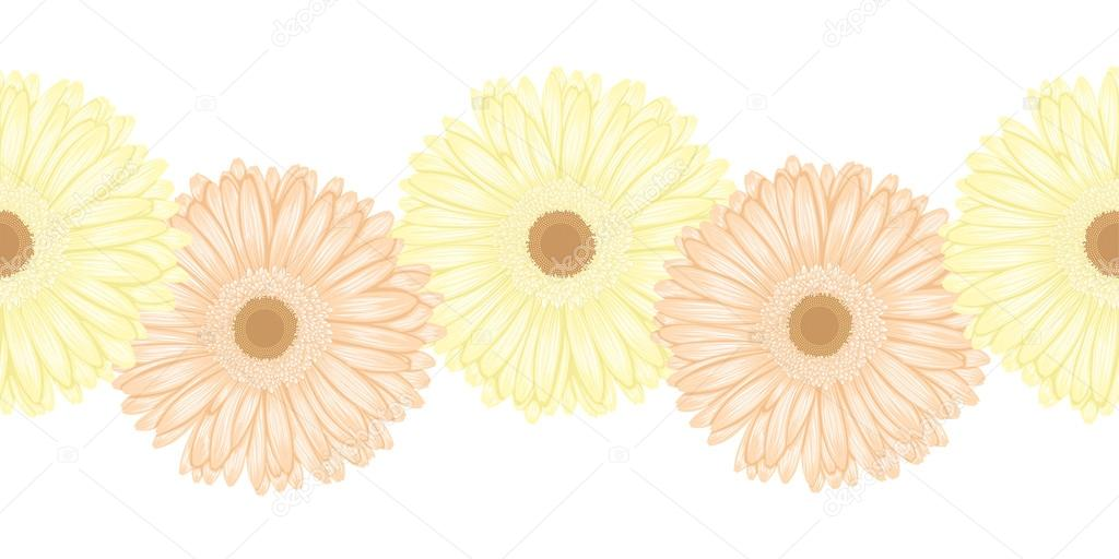 Beautiful seamless horizontal frame element of gerbera flower