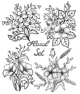 Vector black and white flowers set. floral collection with leaves and flowers, Hand Draw Vintage .