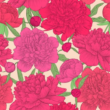 beautiful seamless background. pink peonies with green leaves and buds. Perfect for greeting cards and invitations of the wedding, birthday, Valentine's Day, mother's day and other seasonal holidays