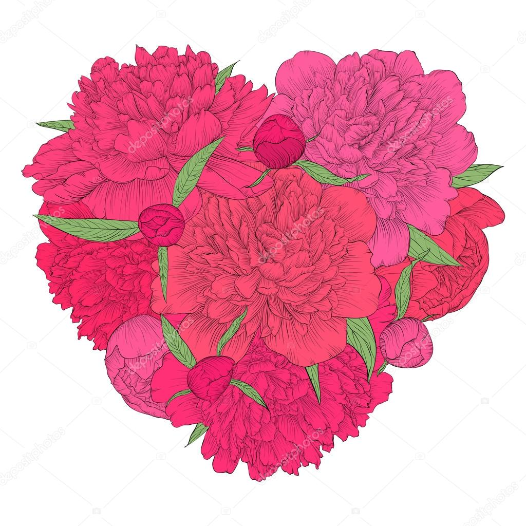 Beautiful Heart Decorated By Flowers Peony Vintage Template Card