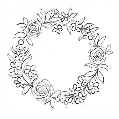 Beautiful monochrome black and white Floral circular frame.