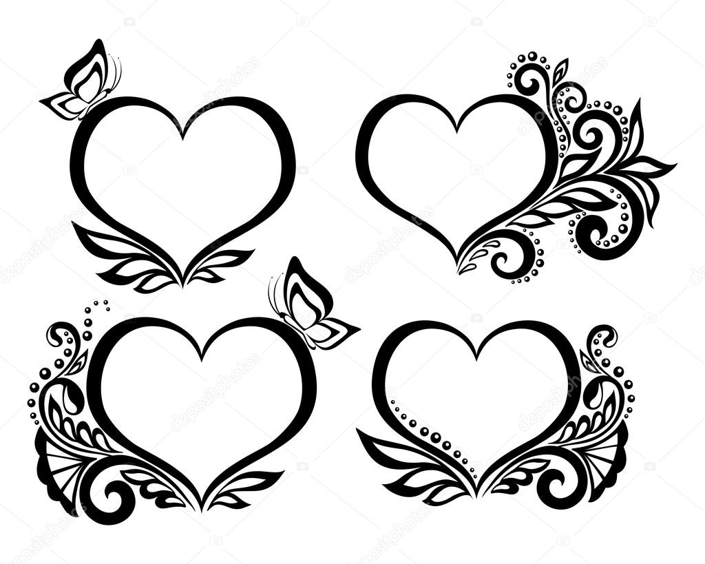 Set of beautiful black and white symbol of a heart with floral set of beautiful black and white symbol of a heart with floral design and butterfly for greeting cards and invitations of wedding birthday biocorpaavc Image collections