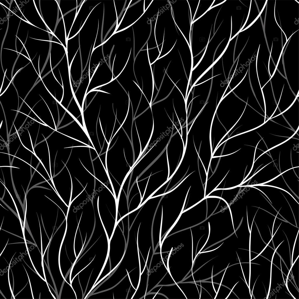 beautiful monochrome black and white seamless background with tree branches.