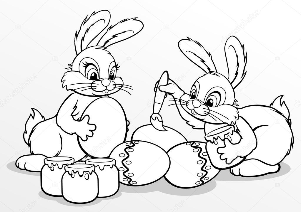 Coelhinhos Da Páscoa Pintar Ovos