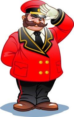 Doorman in a red suit