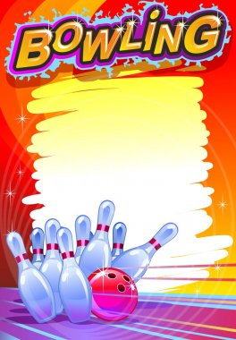 Bowling banner. Cartoon